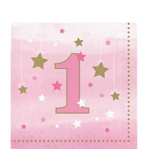 Bilde av Twinkle One Little Star 1 År Rosa Servietter 33cm 16stk