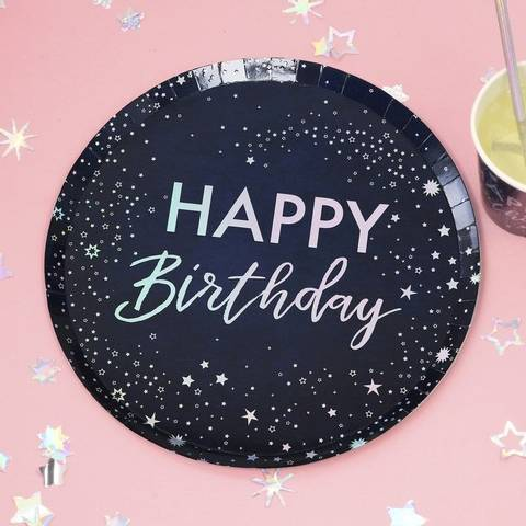 Bilde av  Papptallerkner Happy Birthday 25cm 8stk