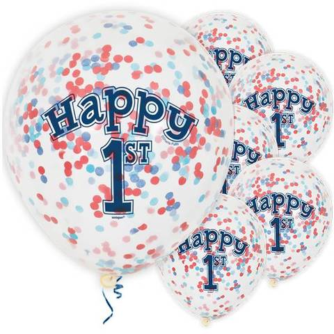 Bilde av Konfetti Ballonger Happy 1st Birthday Blå Latex 30cm 6stk