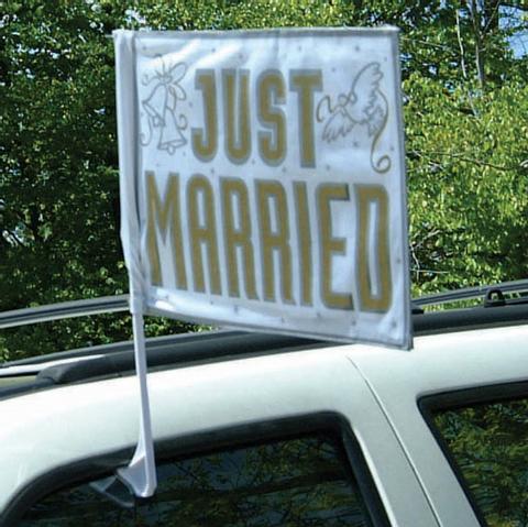 Bilde av Just Married Bil Flagg