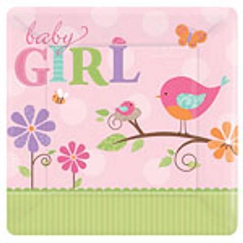 Bilde av Tweet Baby Girl Papptallerkner  8stk
